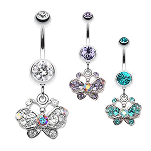 Sweet n' Petite Butterfly Dangle - Dangling Belly Ring. Navel Rings Australia.