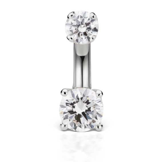 Petite 14K White Gold CZ Prong Solitaire Belly Ring by Maria Tash - Basic Curved Barbell. Navel Rings Australia.
