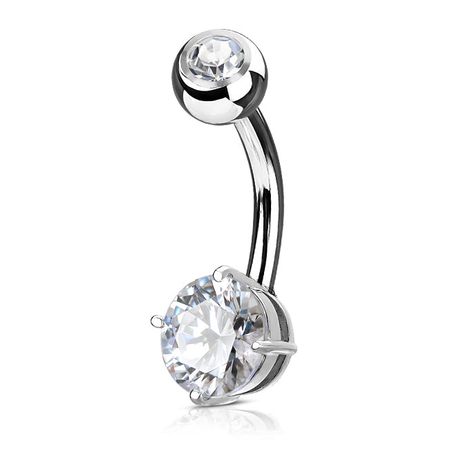 Fixed (non-dangle) Belly Bar. Quality Belly Bars. Petites Classic Belly Bar