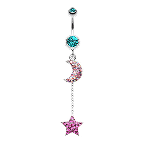 Pink Aurora's Galactic Charmer Belly Dangle