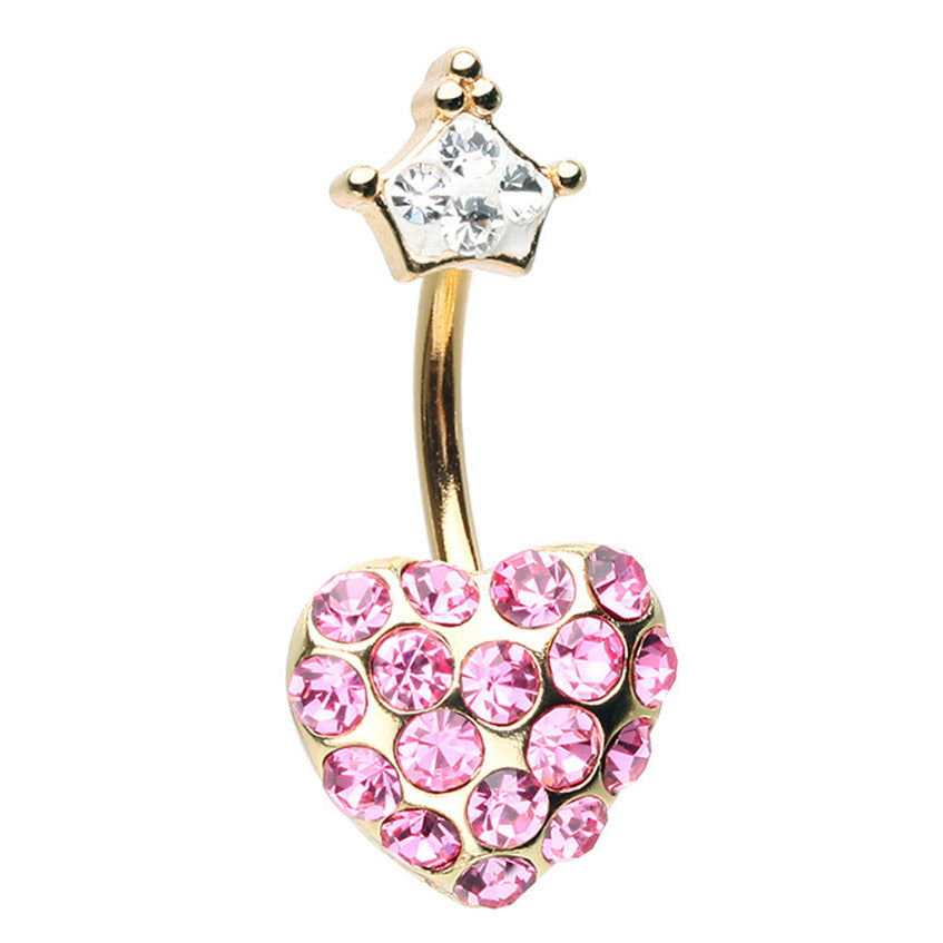 Poetic Fairytale Heart Belly Ring - Fixed (non-dangle) Belly Bar. Navel Rings Australia.