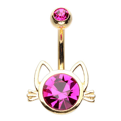 Hot Pink Cute Cat Ears And Whiskers Belly Ring Basic Navel Bar The Shop