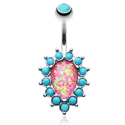 Fixed (non-dangle) Belly Bar. Cute Belly Rings. Mimi Pink Opal and Turquoise Belly Bar