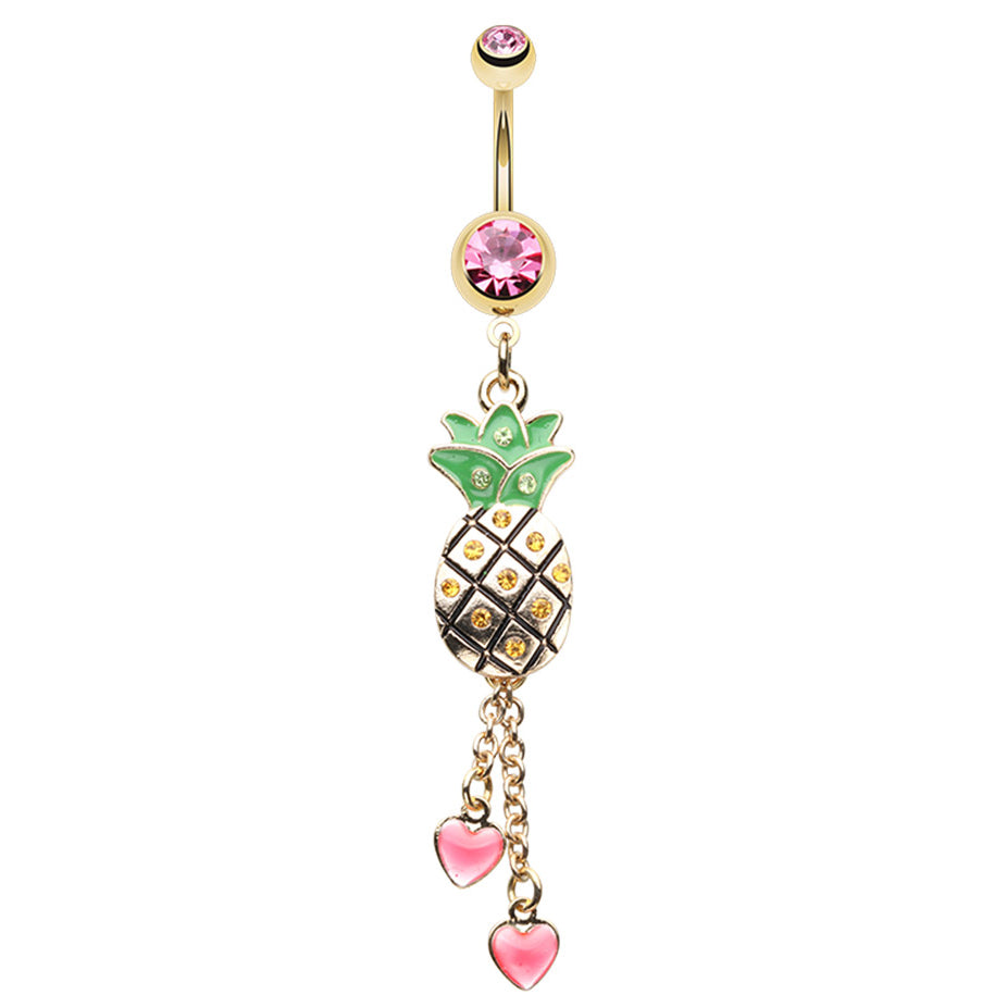 Sweethearts Pineapple Blast Belly Dangle - Dangling Belly Ring. Navel Rings Australia.