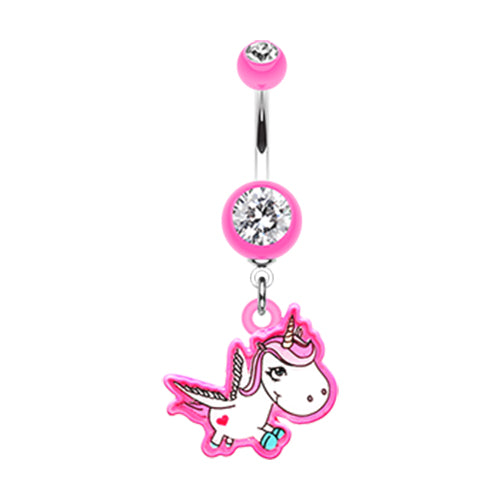 Dangling Belly Ring. High End Belly Rings. The Flying Unicorn Belly Bar