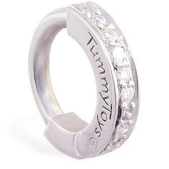 TummyToys® Solid Platinum and Diamond Pave Clasp - TummyToys® Patented Clasp. Navel Rings Australia.