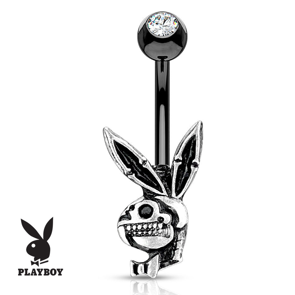 Official ©Playboy Black Skull Belly Ring - Fixed (non-dangle) Belly Bar. Navel Rings Australia.