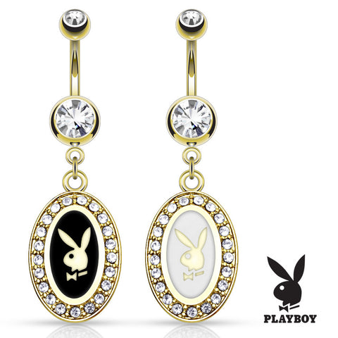 Dangling Belly Ring. Cute Belly Rings. Official Framed Playboy Bunny Navel Rings in 14K Gold