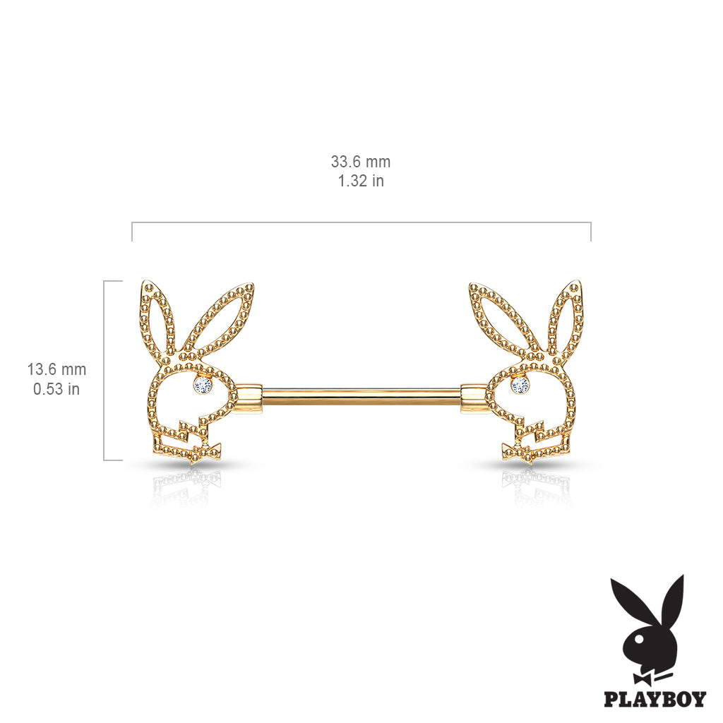 Nipple Ring. Buy Belly Rings. Crystal Paved Playboy Bunny Nipple Bar in Gold