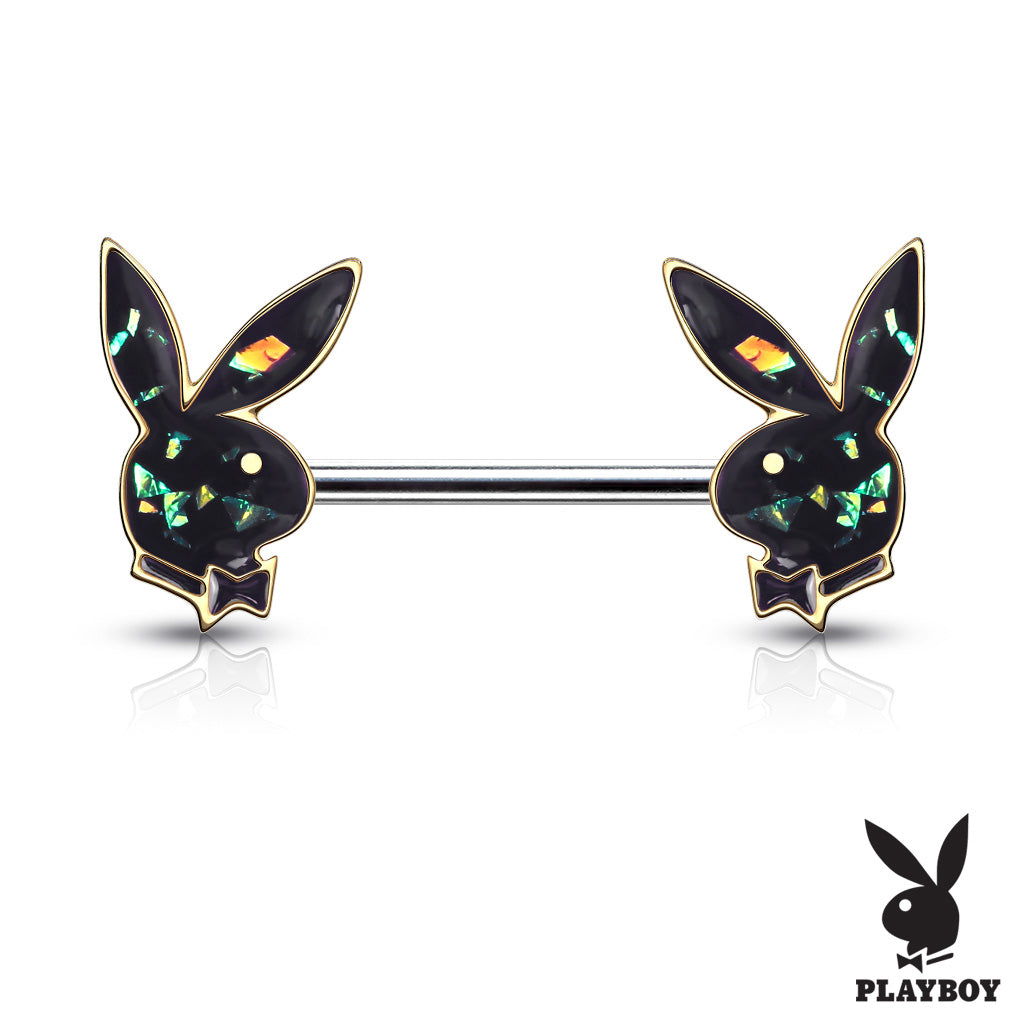 Nipple Ring. Shop Belly Rings. Opal Gleam Playboy Bunny Nipple Bar in Gold