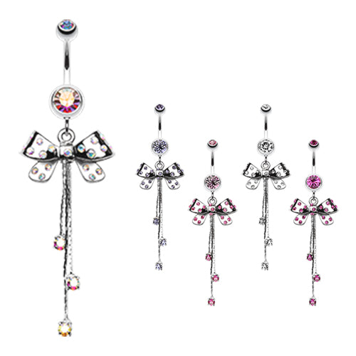 Polka Dot Party Bow Belly Ring - Dangling Belly Ring. Navel Rings Australia.