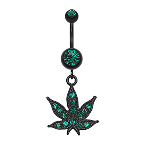 Emerald Blackline Mary J Belly Button Ring