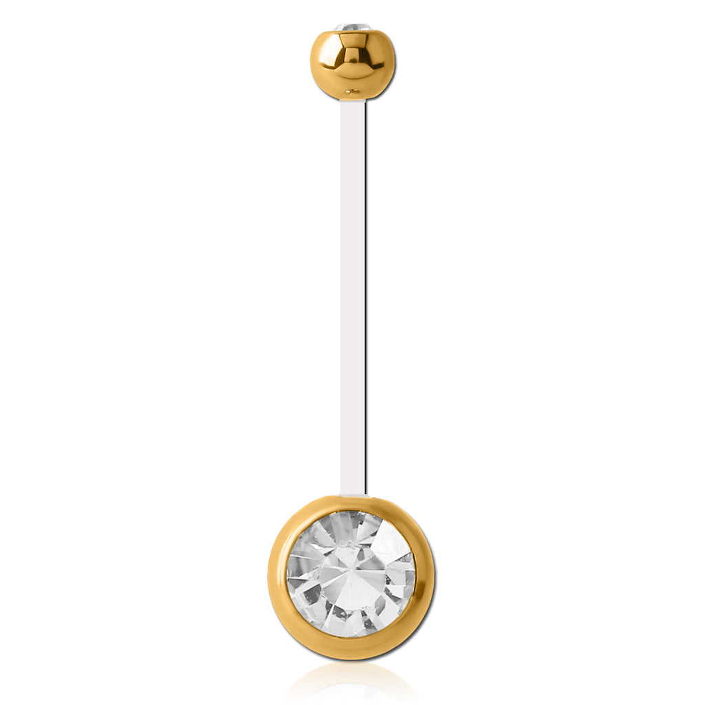 Mamma Mia Clear Flex Gem Maternity Belly Ring in Gold - Maternity Belly Ring. Navel Rings Australia.