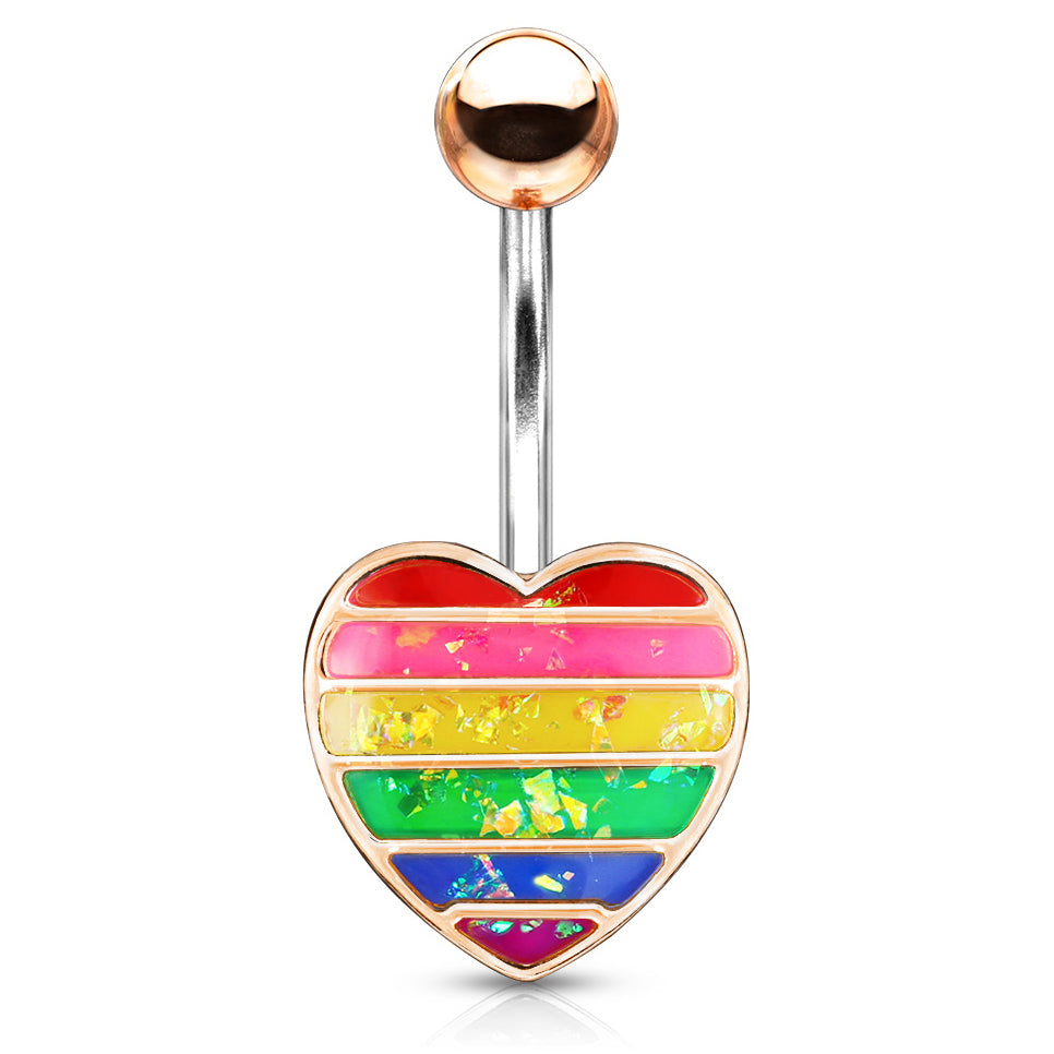 Opal Gay Pride Rainbow Belly Rings in Rose Gold - Fixed (non-dangle) Belly Bar. Navel Rings Australia.