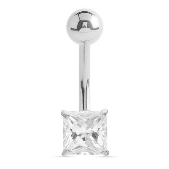14K Solid White Gold Princess Cut Belly Bar - Fixed (non-dangle) Belly Bar. Navel Rings Australia.