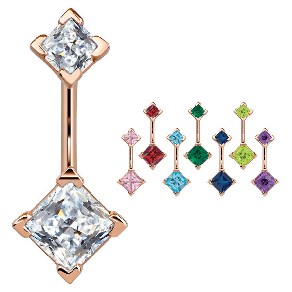 14K Rose Gold Princess Gem Belly Rings - Basic Curved Barbell. Navel Rings Australia.