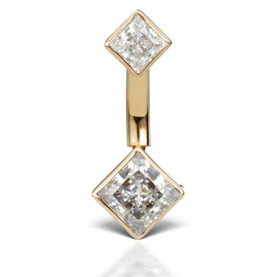 Designer Princess Solitaire Belly Ring in 14K Yellow Gold by Maria Tash - Basic Curved Barbell. Navel Rings Australia.