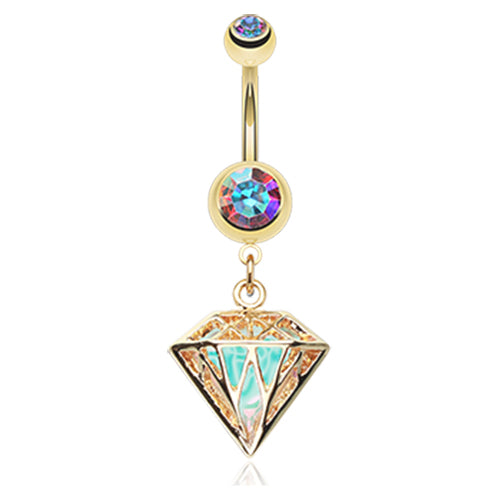 Gold Urban Prism Belly Dangle - Dangling Belly Ring. Navel Rings Australia.