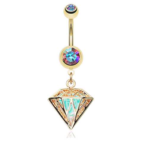 Dangling Belly Ring. Shop Belly Rings. Gold Urban Prism Belly Dangle