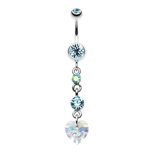 Dangling Belly Ring. Belly Bars Australia. Prism Heart Drop Navel Ring