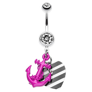 Metallic Anchor Love Charms Belly Bar - Dangling Belly Ring. Navel Rings Australia.