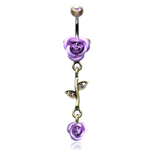 Dangling Belly Ring. High End Belly Rings. Brass Burnish Metallic Roses Belly Bars