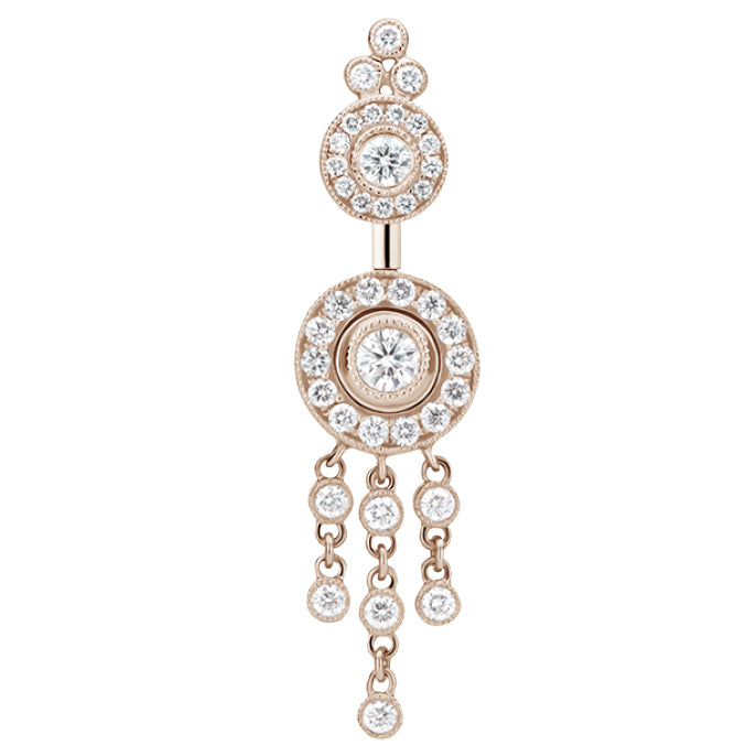 18K Rose Gold Diamond Ice Pave with Diamond Trinity Chandelier by Maria Tash - Dangling Belly Ring. Navel Rings Australia.