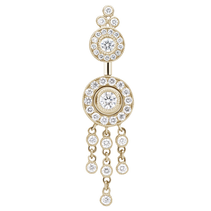18K Yellow Gold Diamond Ice Pave with Diamond Trinity Chandelier by Maria Tash - Dangling Belly Ring. Navel Rings Australia.