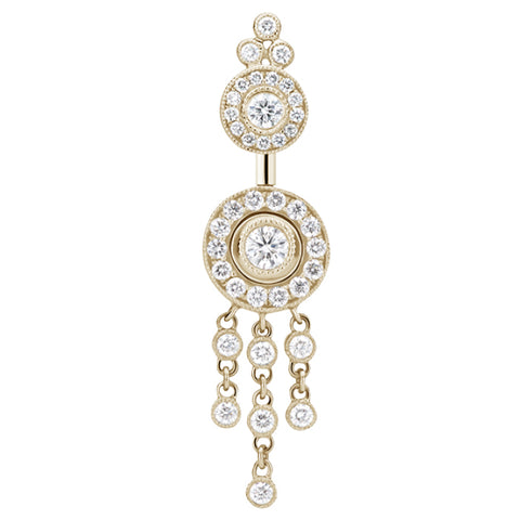 Dangling Belly Ring. Quality Belly Rings. 18K Yellow Gold Diamond Ice Pave with Diamond Trinity Chandelier by Maria Tash