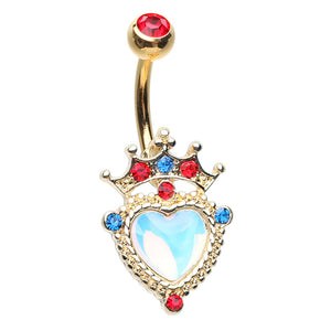 Queen of Hearts Gold Crown Belly Bar - Fixed (non-dangle) Belly Bar. Navel Rings Australia.