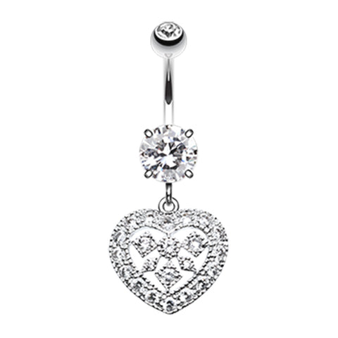 Queen of Hearts Belly Bar - Fixed (non-dangle) Belly Bar. Navel Rings Australia.