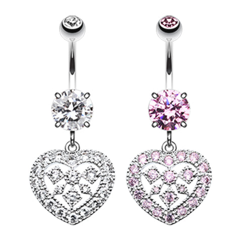 Dangling Belly Ring. Quality Belly Bars. Queen of Hearts Belly Bar