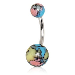 Archaic Cracked Stone Acrylic Belly Rings - Basic Curved Barbell. Navel Rings Australia.