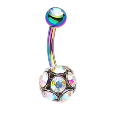 Fixed (non-dangle) Belly Bar. High End Belly Rings. Celestial Rainbows Belly Bar