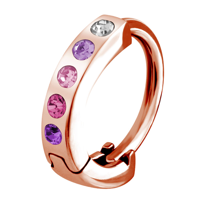 Budget Rainbow Gem Belly Huggy in Rose Gold - Budget Belly Huggy. Navel Rings Australia.