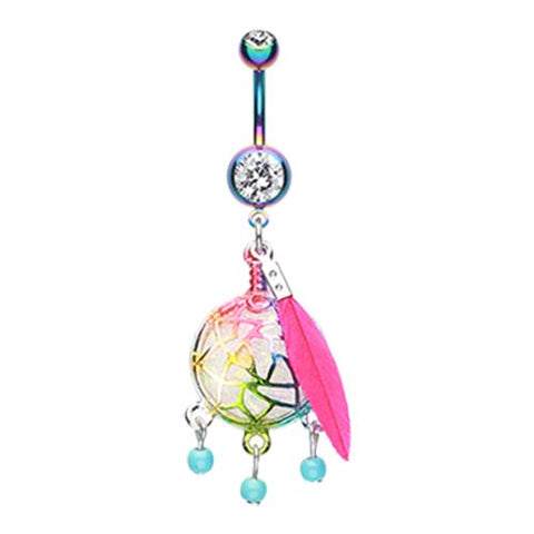 Dangling Belly Ring. Quality Belly Bars. Unicorns Rainbow Dream Catcher Belly Ring