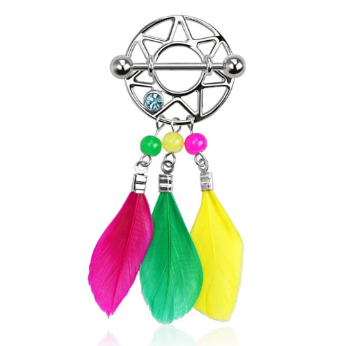 Rainbow Feather Dream Catcher Nipple Ring - Nipple Ring. Navel Rings Australia.