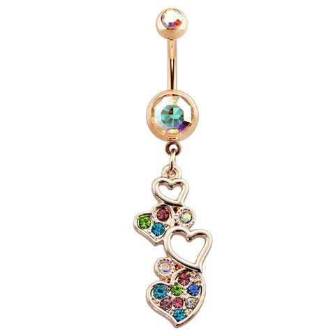Dangling Belly Ring. Navel Rings Australia. Rainbow Love Fete Belly Dangle
