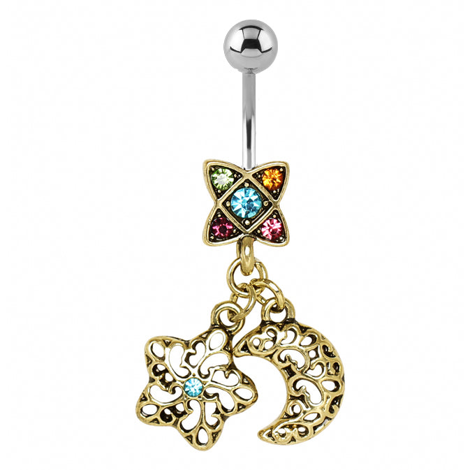 Rainbow Galaxy Belly Dangle - Dangling Belly Ring. Navel Rings Australia.