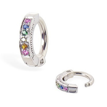 TummyToys® Silver Paved CZ Rainbow Sleeper Belly Ring - TummyToys® Patented Clasp. Navel Rings Australia.