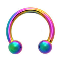 Rainbow Titanium Horseshoe Belly Bar