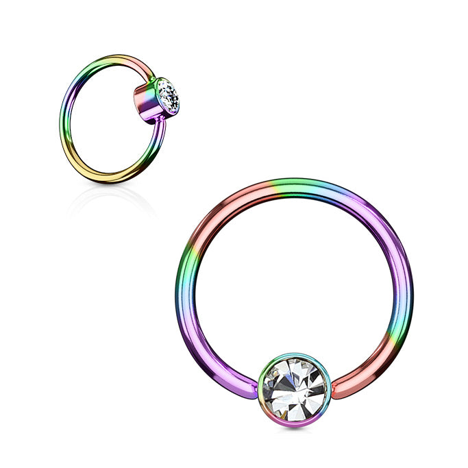 Rainbow Titanium FLAT Gem Ball Captive Belly Ring - Captive Belly Ring. Navel Rings Australia.