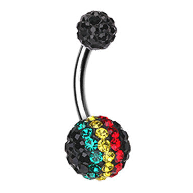 Rasta Stripe Motley™ Belly Rings - Basic Curved Barbell. Navel Rings Australia.