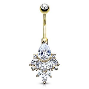 14K Gold Razzle Dazzle Belly Ring - Fixed (non-dangle) Belly Bar. Navel Rings Australia.