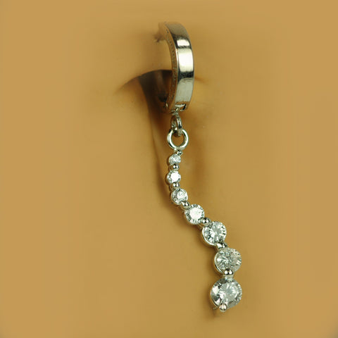 TummyToys® 14K White Gold Seven Diamond Journey Belly Ring - TummyToys® Patented Clasp. Navel Rings Australia.