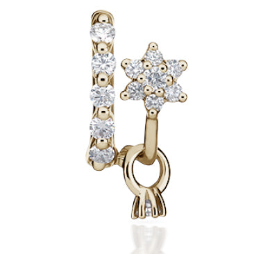 Clicker Belly Ring. Cute Belly Rings. Gold Five-Diamond Belly Ring with Offset Flower and Dangle