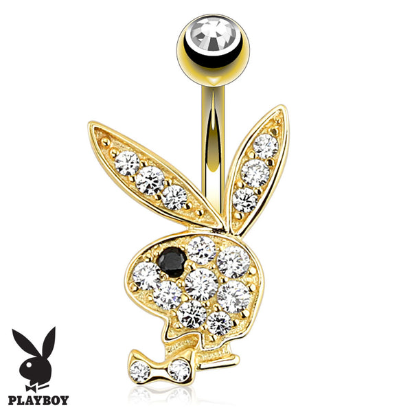 Official Playboy Solid Gold Belly Piercing Ring - Fixed (non-dangle) Belly Bar. Navel Rings Australia.