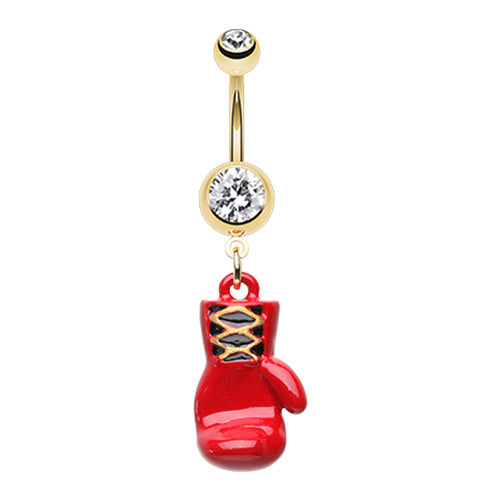 Red Warriors Fighting Mitt Belly Dangle - Dangling Belly Ring. Navel Rings Australia.