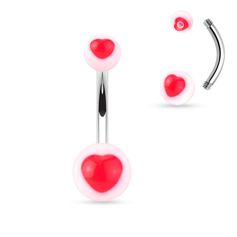 Red Sweethearts Acrylic Belly Bar
