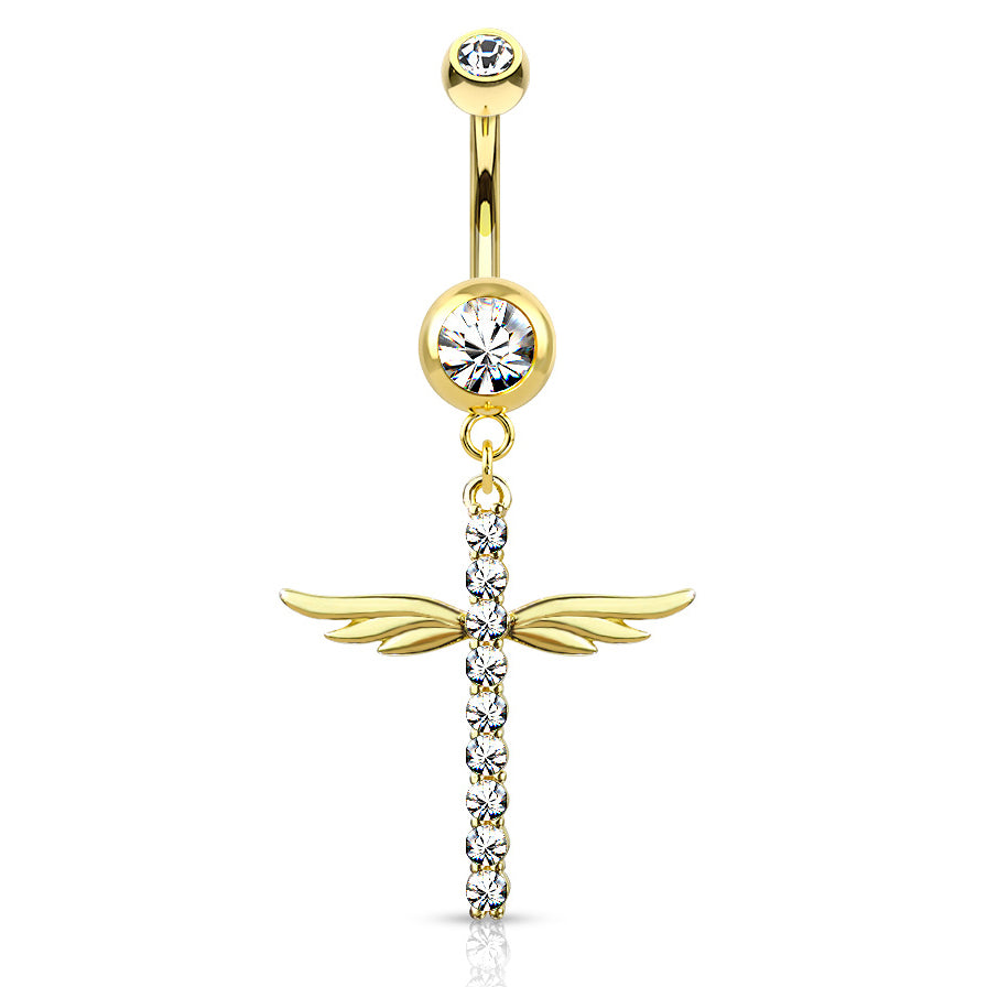 Winging It Cross Belly Dangle in Gold - Dangling Belly Ring. Navel Rings Australia.
